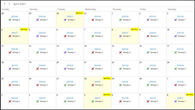 Designing an Airfare Calendar with WinUI Scheduler