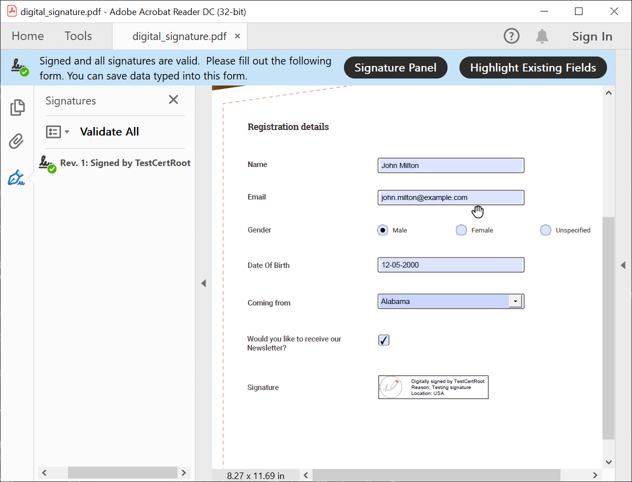 Digitally Signing a PDF Document in Flutter