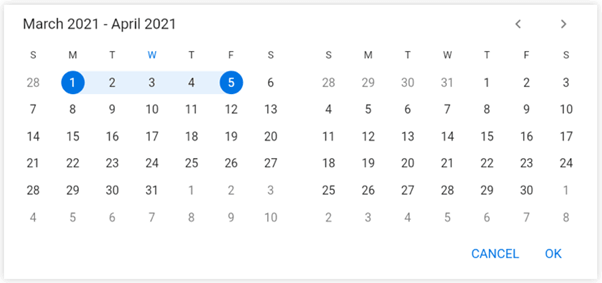 Displaying Action Buttons in Flutter Date Range Picker