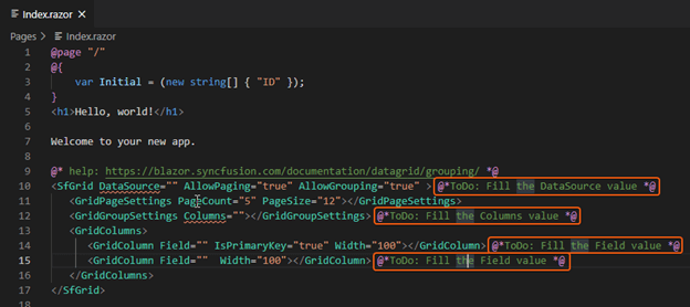 Fill the values required to render the Blazor DataGrid