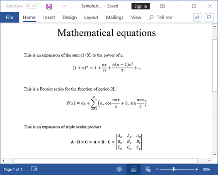 Including Mathematical Equations Using Java Word Library