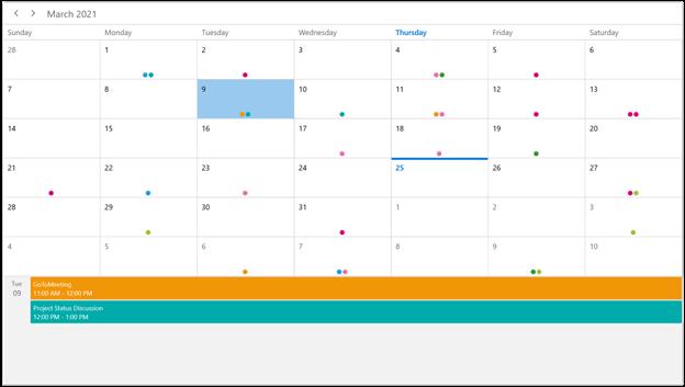 Month Agenda View in WinUI Scheduler