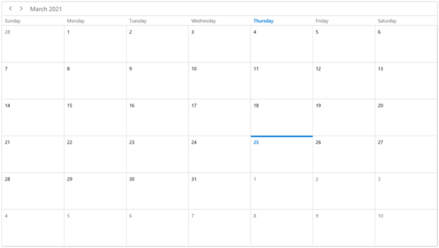 Month View Mode in WinUI Scheduler