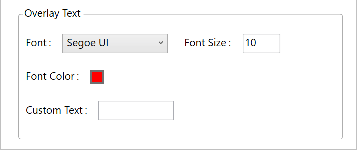 Overlay Text Settings