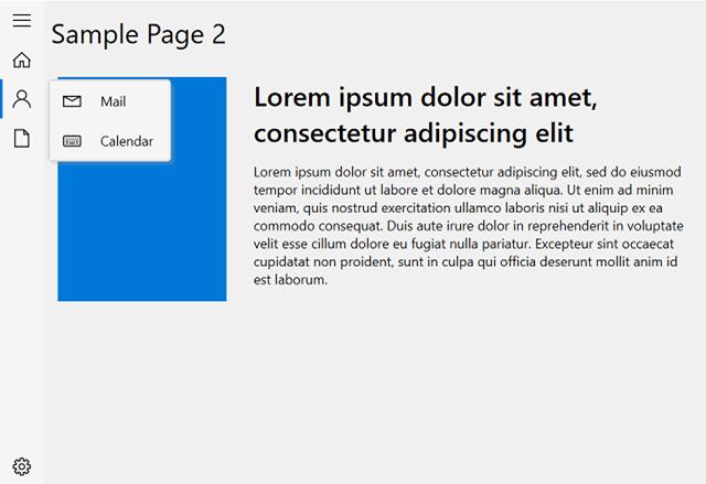 Sidebar Pop-up Menu Displaying Subitems