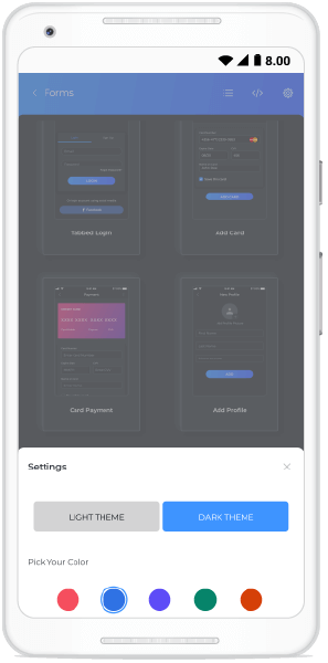Switch to dark or light themes in Essential UI Kit for Xamarin