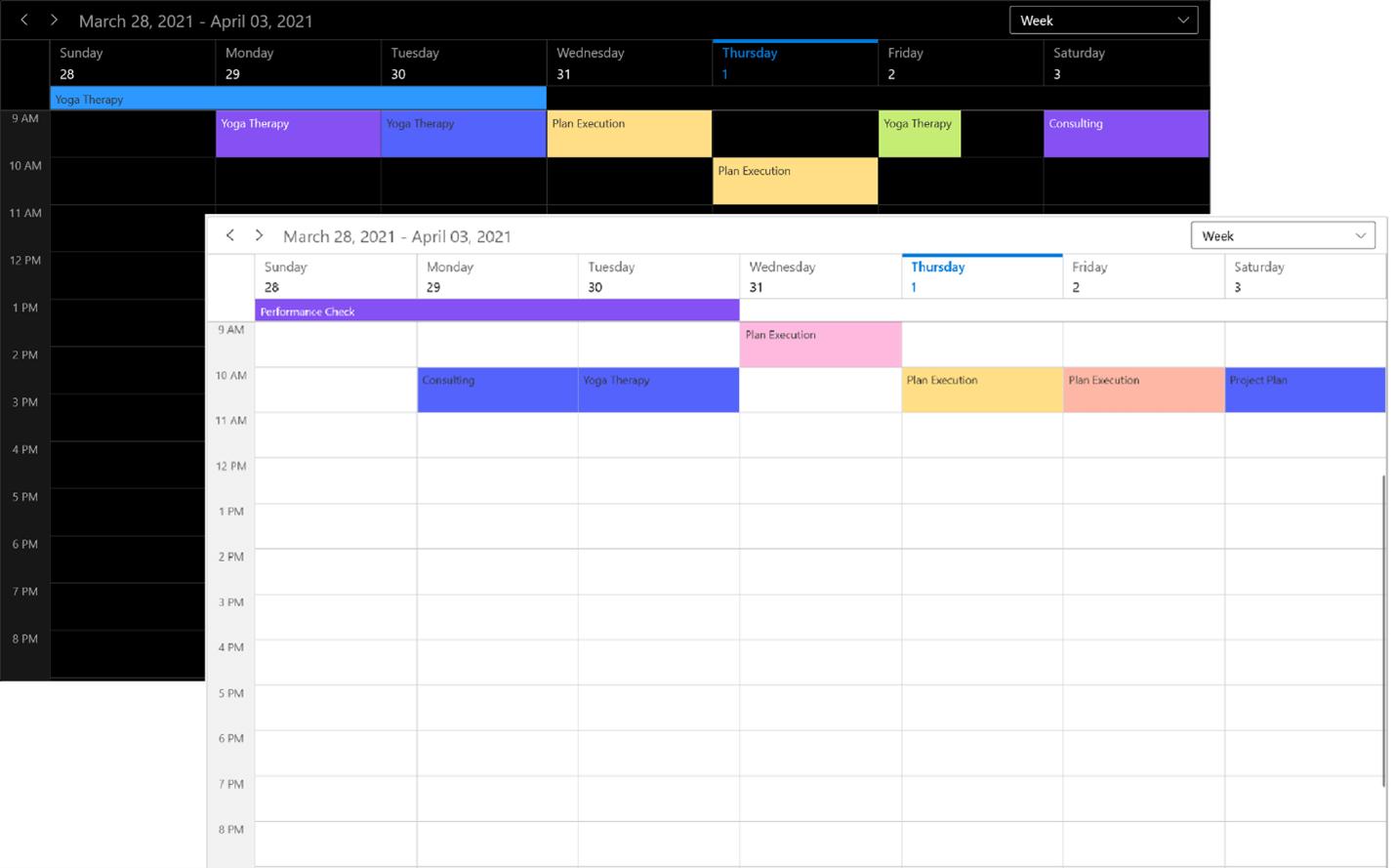 Themes in WinUI Scheduler