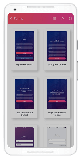 Thumbnail view of the XAML pages in Essential UI Kit for Xamarin