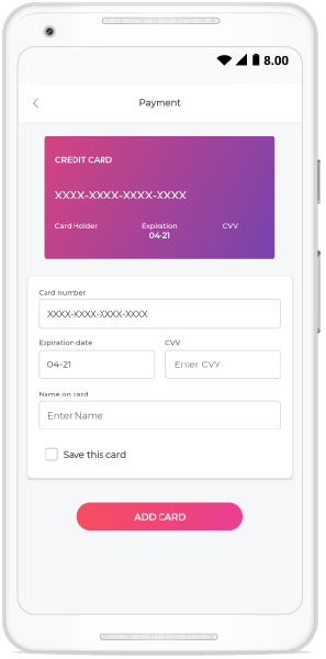 XAML page in the Essential UI Kit for Xamarin getting credit card details