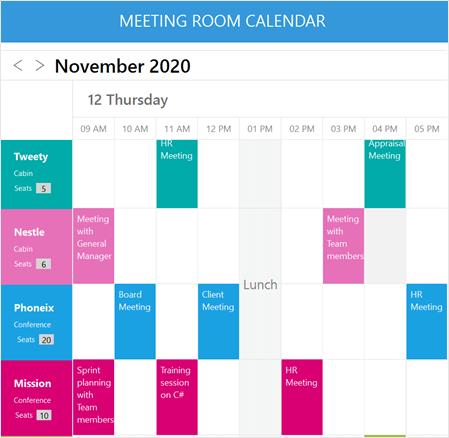 Designing a Meeting Room Calendar using Xamarin Scheduler
