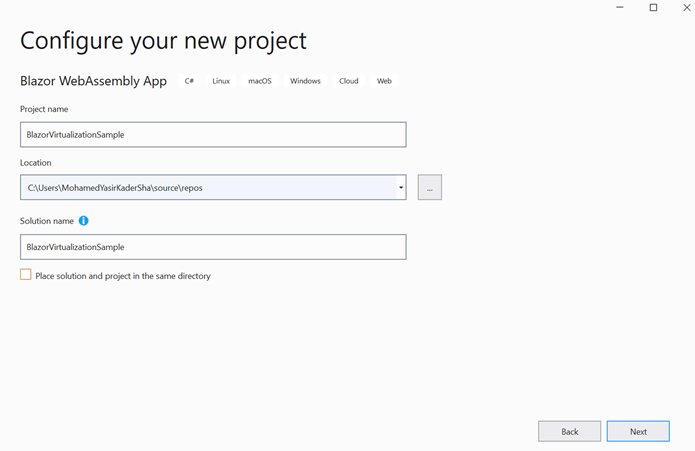 Enter your project name and click Next