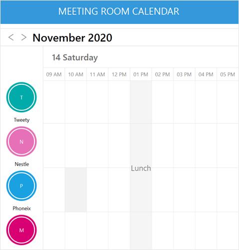 Meeting Room Calendar Showing Resources
