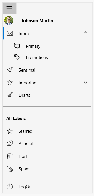 Different items included in the WPF Navigation Drawer