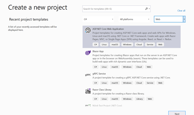 Create a New Project Dialog