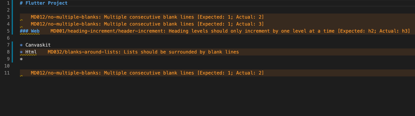 Displaying Errors in Markdown Files Using Markdownlint Extension