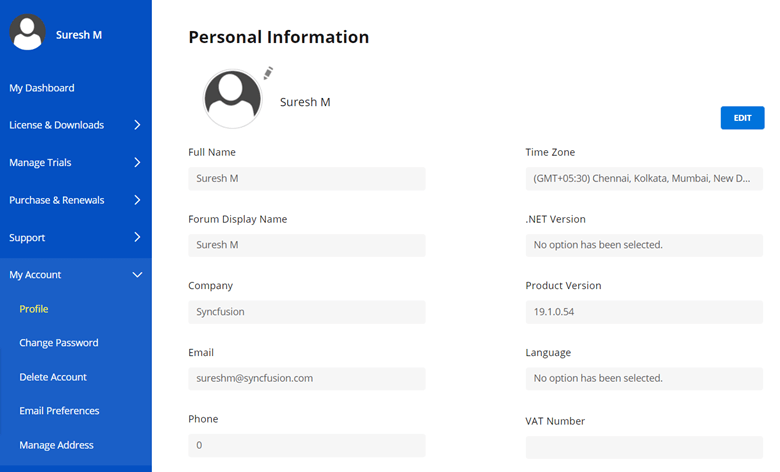 Personal Information page
