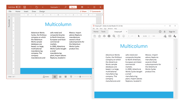 Preserving Multicolumn Content in PowerPoint to PDF Conversion