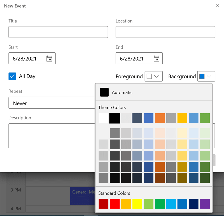 Background and Foreground Color Editors in WinUI Scheduler