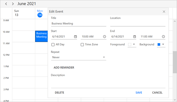 Built-in Appointment Editor in WPF Scheduler