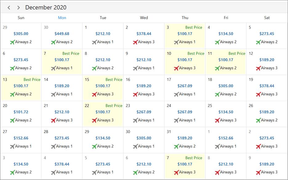 Designing an Airfare Calendar with WPF Scheduler