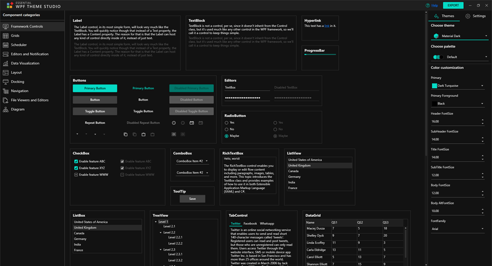 Essential WPF Theme Studio Window