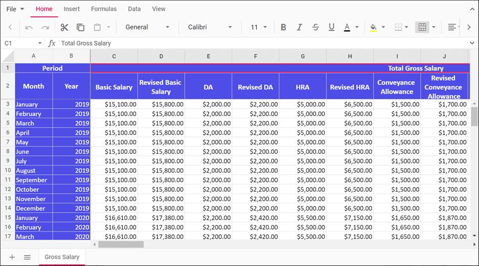 Freeze Panes in JavaScript Spreadsheet