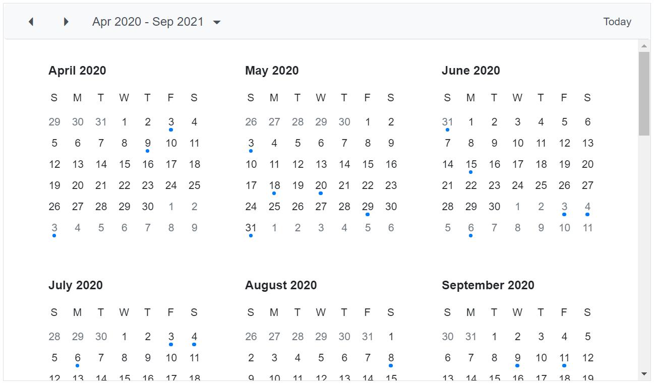 Custom Year View Intervals in Blazor Scheduler