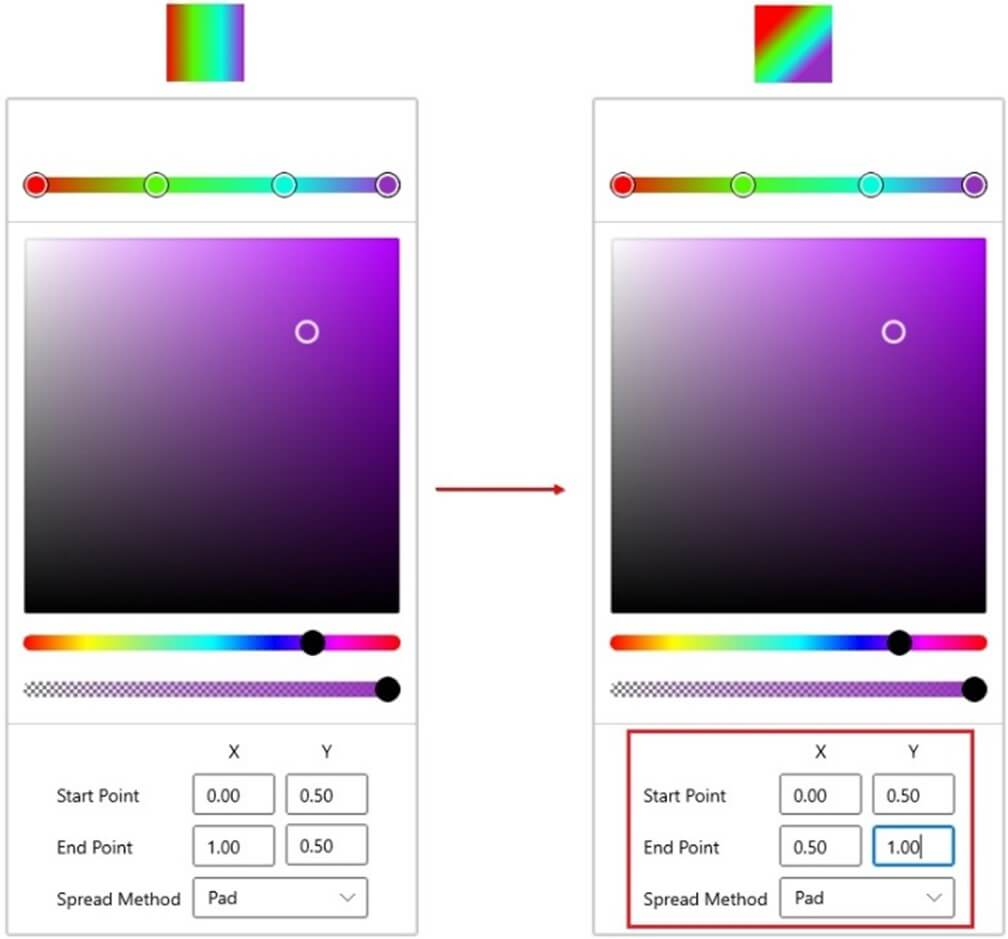 Advanced Editor for Linear Gradient