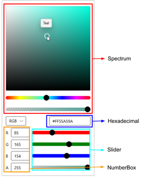 Color Picker Editor Window With Various Input Options