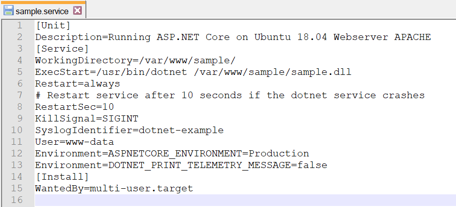 Command to be added in the service file named sample.service