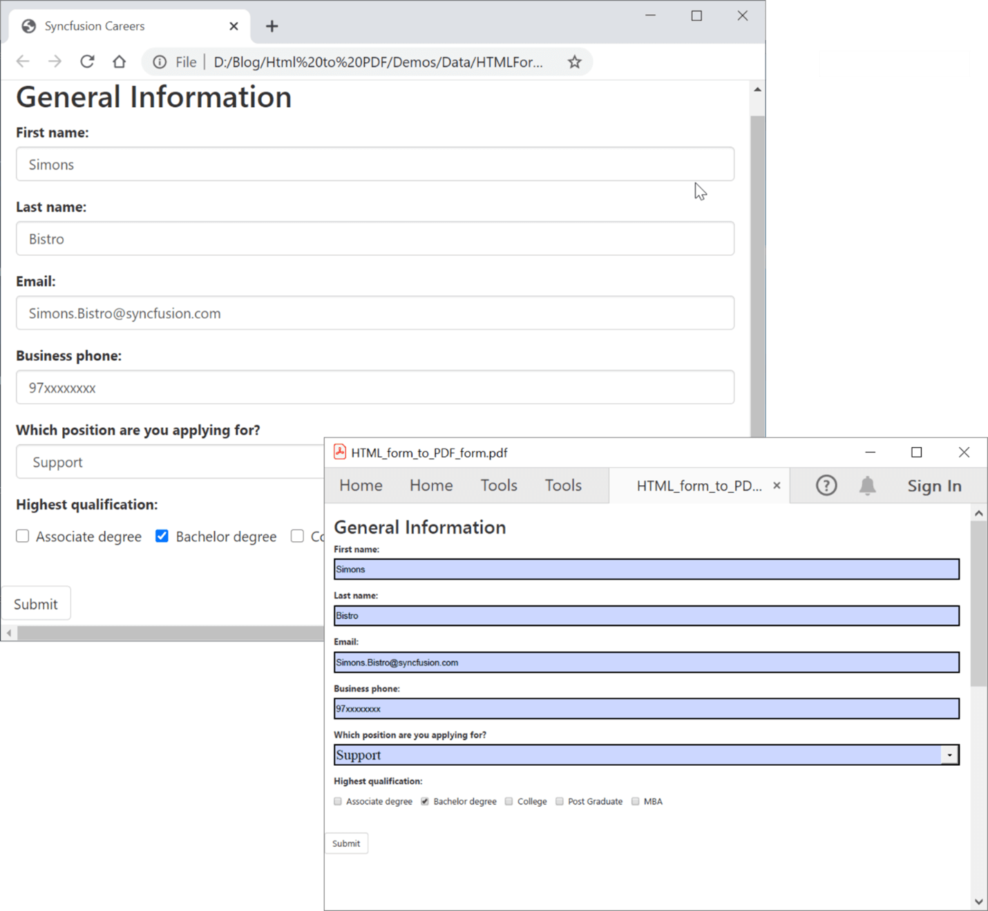 Converting HTML Forms to Fillable PDF Forms