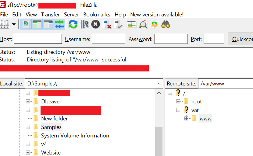 Create a new folder named sample and then move the published files to this new folder