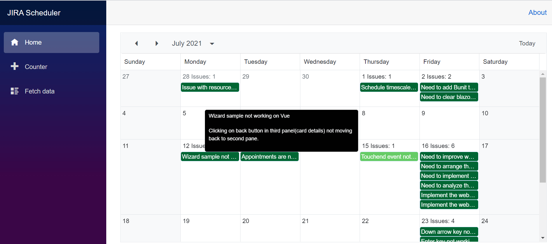 Displaying CustomTooltip on the Appointments