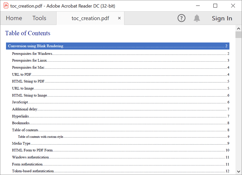 Customizing the Style of a Table Of Contents