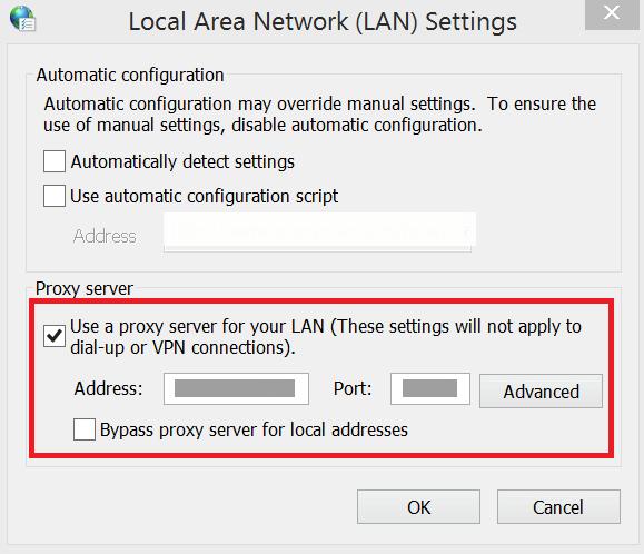 Local Area Network(LAN) Settings window