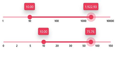 Numeric Range Scale in WinUI 3 Range Slider