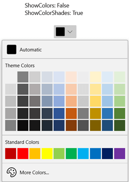 WinUI DropDown Color Palette Displaying Themes Colors With Shades