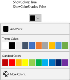 WinUI DropDown Color Palette Displaying Themes Colors