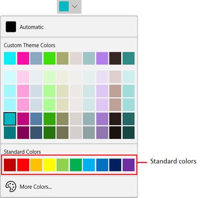 WinUI DropDown ColorPalette: Standard Colors