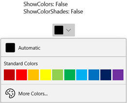 WinUI DropDown Color Palette Displaying Only Standard Colors