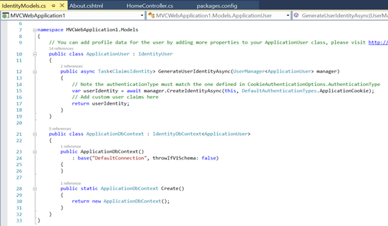 Add the two classes ApplicationUser and ApplicationDBContext to their corresponding references from the ASP.NET MVC project