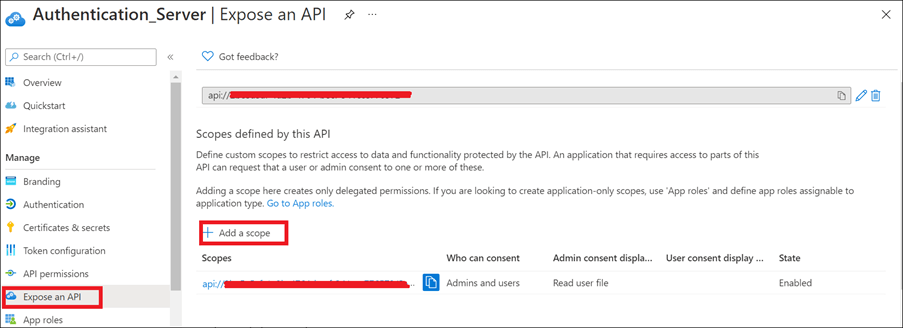 Add a scope API in the Expose an API page