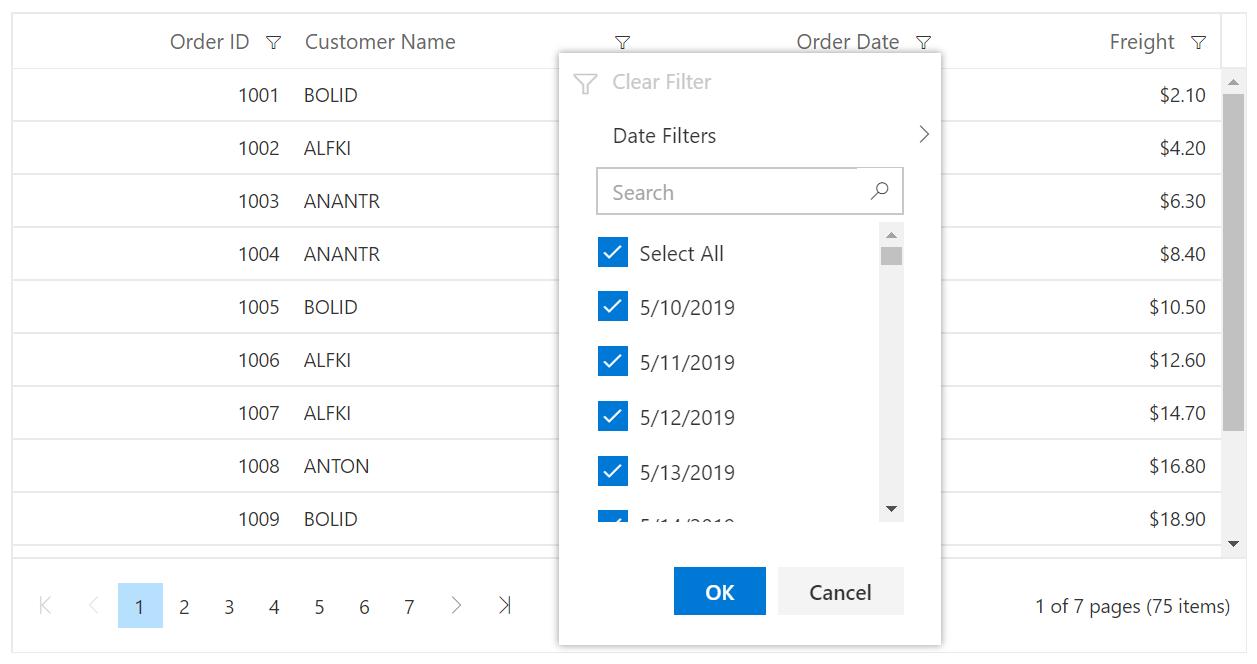 Blazor DataGrid With Excel Like Filter
