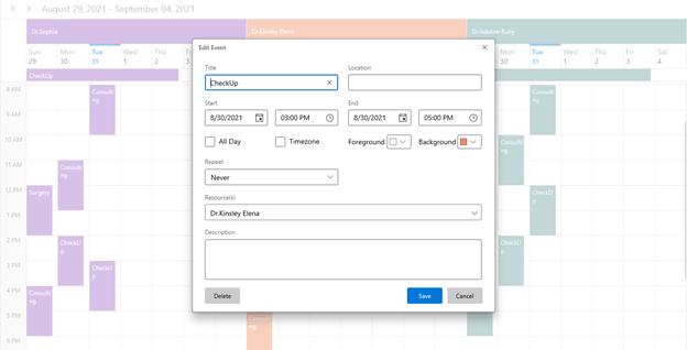 Built-in Editor in WinUI Scheduler