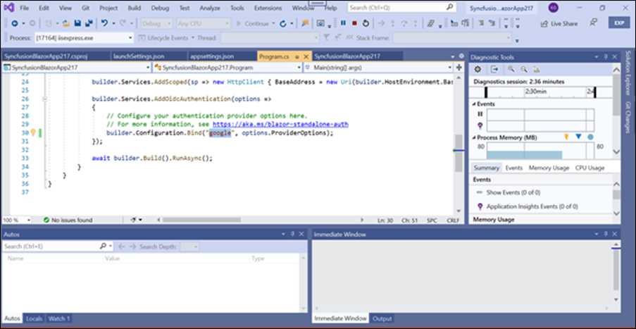 Change the build configuration bind as Google from Local in the Program.cs file.