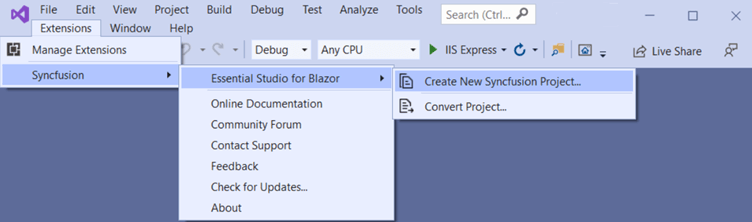 Choose Extension , Syncfusion, Essential Studio for Blazor, Create New Syncfusion Project… from the Visual Studio menu