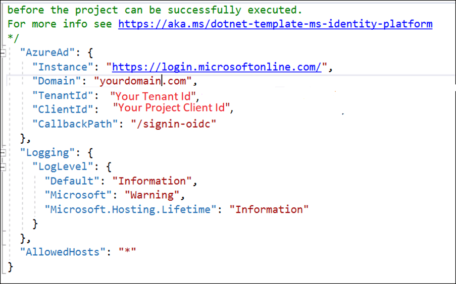 Configure the client tenant id, application id, and domain in your project's appsettings.json file