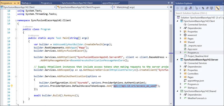 Configure the scope API in the client project program.cs file