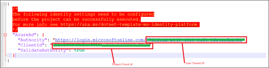 Configure the client tenant ID and application ID in your project's appsettings.json file.