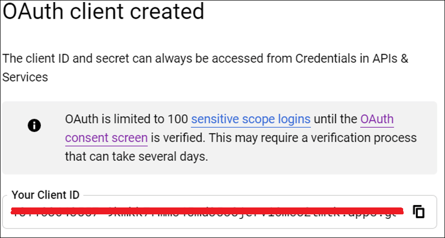 Copy your created OAuth client id